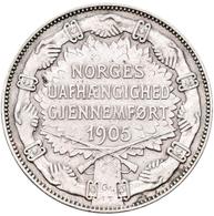 Norwegen: Haakon VII. 1905-1957: 2 Kronen 1907 Auf Die Unabhängigkeit 1905. KM# 365, Ahlström 4. Ent - Norway