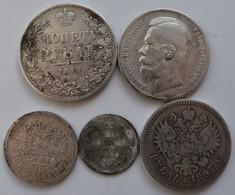 Russland: Kleines Lot 5 Münzen, Dabei: 1 Rubel 1846;2 X 1 Rubel 1897, 50 Kop 1899 Und 20 Kop 1906. - Russia