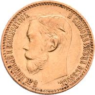Russland - Anlagegold: Nikolaus II. 1894-1917: 5 Rubel 1898 (AG-Avraam Hutseus). KM Y# 62, Friedberg - Russia