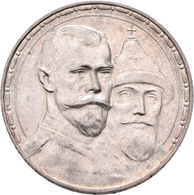 Russland: Nikolaus II. 1894-1917: Rubel 1913, 300 Jahre Haus Romanov, Davenport 298, 19,99 G, Winz. - Russia