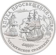 Russland: 150 Rubel 1992, Serie Russische Geschichte, Seeschlacht Von Cesme. KM# 358. ½ OZ Platin. I - Russia