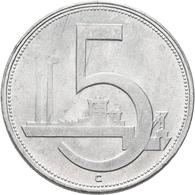 Tschechoslowakei: 5 Kcs 1952 RR !, Nicht Ausgegeben, KM# 34, Novotny 42a, Aluminium, Vorzüglich. - Tschechoslowakei
