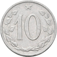 Tschechoslowakei: Lot 2 Münzen, Vatianten: 1) 10 Heller 1963 Mit Punkten, KM# 49.2, Novotny 62, Sehr - Czechoslovakia