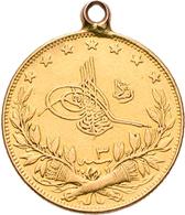 Türkei - Anlagegold: Muhammad V. 1909-1918 (AH 1327-1336): 100 Kurush AH 1327/3, Gold 917/1000, 7,26 - Turkey