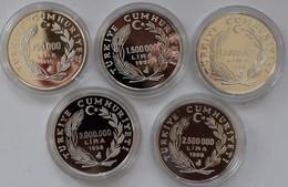 Türkei: Kleines Lot 5 Silber Münzen 1996-1998 Aus Der Inflationszeit. Angefangen Mit 750.000 Lira 19 - Turkey
