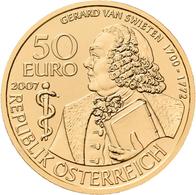 Österreich - Anlagegold: 50 Euro 2007 Grosse Mediziner: Gerard Van Swieten. KM# 3138, Friedberg 947. - Austria