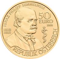 Österreich - Anlagegold: 50 Euro 2008 Grosse Mediziner: Ignaz Philipp Semmelweis, KM# 3153, Friedber - Austria