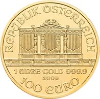 Österreich - Anlagegold: 100 Euro 2008 Wiener Philharmoniker. KM# 3095, Friedberg B5. 31,11 G (1 OZ) - Austria