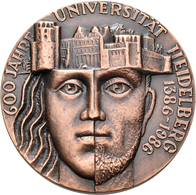 Medaillen Deutschland: Heidelberg: Bronze-Gedenkmedaille 1986, Von Kauko Räsänen, Auf Den 600. Jahre - Germany