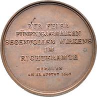 Medaillen Deutschland: München: Bronzemedaille 1847, Unsigniert, Auf Das 50jährige Jubiläum Des Geri - Germany