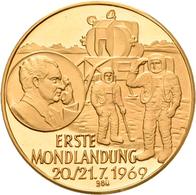Medaillen Deutschland: Raumfahrt: Goldmedaille 1969, Auf Die Erste Mondlandung Am 20./21.7.1969, Gol - Germany