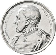 Medaillen Deutschland - Personen: Von Moltke, Helmuth Karl Bernhard 1800-1891: Versilberte Bronzemed - Germany