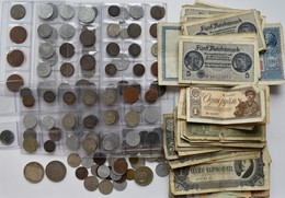 Alle Welt: Kleines Lot An Münzen Und Banknoten, Dabei: 2 X 3 Mark Sachsen 1913 (J. 140); Kleinmünzen - Coins