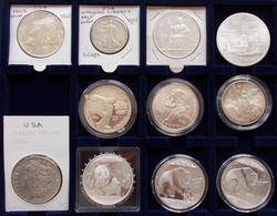 Alle Welt: Kleine Partie Von 11 Münzen Auf 1 Tableau, Ab 1885, Dabei USA Morgandollar 1885 O, China - Coins