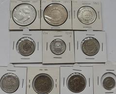Brasilien: Kleines Lot 10 Silbermünzen (200 - 2.000 Reis) Sowie 22 Münzen Aus Unedlen Metallen Aus B - Brazil