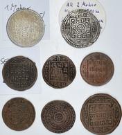 Nepal: Lot 8 Münzen, Dabei: Mohar 1817SE, 5,6g Silber (KM# 651.2), 2 Mohars 1801SE, 11g Silber (KM# - Nepal