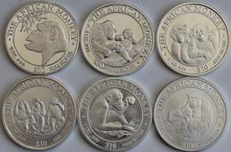 Somalia: Lot 6 X 1 OZ Silber African Monkey Der Jahre 1998-2003. - Coins