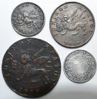 Griechenland: Ionische Inseln: Lot 4 Münzen, Dabei: 1 Lepton 1857 (KM# 34), 2 Lepta 1819 (KM#31), 1 - Greece