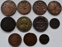 Russland: Lot 11 Nicht Näher Bestimmten Kupfermünzen Lautend Auf Kopeken Aus Dem 18. + 19. Jhd., Dab - Russia