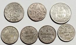 Deutschland: Lot 7 Kleinmünzen / Kreuzer, Dabei Konventionskreuzer 1774 N Hohenlohe-Neuenstein-Öhrin - Germania