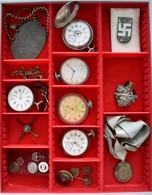 Uhren: Eine Lindnerbox Mit 5 älteren Taschenuhren Sowie Diversen Abzeichen. - Jewels & Clocks