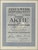 Alte Aktien / Wertpapiere: Lot 8 Aktien 8.11.1923 Der Janus-Werk AG München, 5 X 20.000 Mark Und 3 X - Shareholdings