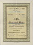 Alte Aktien / Wertpapiere: 1922: Vulkanwerk Aktiengesellschaft Reutlingen, Aktie über 1.000 Mark, Ap - Hist. Wertpapiere - Nonvaleurs