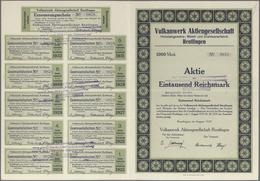 Alte Aktien / Wertpapiere: 1923: Vulkanwerk Aktiengesellschaft Reutlingen, Aktie über 1.000 Reichsma - Shareholdings