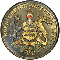 Varia, Sonstiges: Altes Rundes Relief Wappenschild Königreich Württemberg, Eisenguss, Nachkoloriert, - Ohne Zuordnung