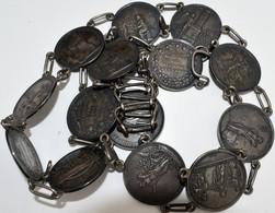 Varia, Sonstiges: Silbergürtel Mit 14 Silbermedaillen Von Loos, Ca. 270 G, Ca. 100 Cm Inkl. Kette, I - Ohne Zuordnung