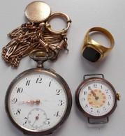 Varia, Sonstiges: Lot 2 Taschenuhren Aus Silber (800er Stempel) Und 1 Goldring Mit Schwarzem Onyx St - Ohne Zuordnung
