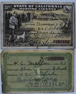 Varia, Sonstiges: State Of California Hunting License, Lot 2 Stück Zu Je 1 Dollar. 1x Expires June 3 - Ohne Zuordnung