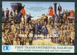 BM Isle Of Man 1992 MiNr Block 17 (516) Mini Sheet MNH, Construction Of The Union Pacific Railroad Golden Spike Ceremony - Isle Of Man