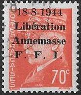 """FRANCE LIBERATION  .RRR..ANNEMASSE 70c**Oge 2eme Sge """"Chiffre Maigre""""avec CAD De La Poste Sur Timbre. Signé P MAYER - Liberation"""
