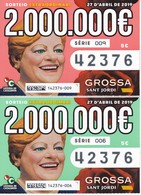 SERIE COMPLETA 2 DIBUJOS DE LOTERIA DE LA GROSSA DE SANT JORDI DEL AÑO 2019 (LOTO) LOTERIA DE CATALUNYA - Billetes De Lotería