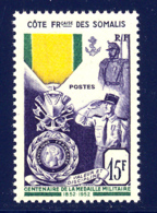 Cote Des Somalis 1952 Yvert 284 ** TB Coin De Feuille - Ungebraucht