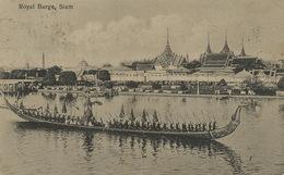 Bangkok  Royal Barge  P. Used 2 Stamps  1923 To Firenze Italy . Royal Palace At The Back - Thailand