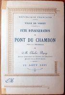 43 VOREY MENU ET PROGRAMME DES FESTIVITES  INAUGURATION DU PONT DU CHAMBON 1897 - Craponne Sur Arzon