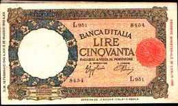 1792) 50 LIRE LUPETTA(FASCIO)L'AQUILA-DEC. 13-2-1943 -SPL - [ 1] …-1946 : Reino