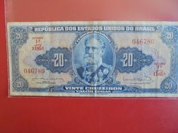 BRESIL 20 CRUZEIROS 1962-64 CIRCULER - Brasile