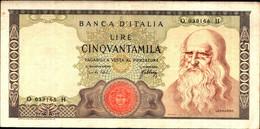 1793) Splendida Banconota-50.000 LIRE Leonardo 3-7-1967 SPL - [ 2] 1946-… : Repubblica