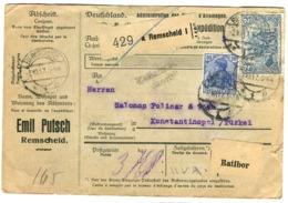 1917 Adresskarte Emil Putsch Remscheid - Ratibor - Konstantinopel 2 M 20 - Germany