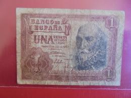 ESPAGNE 1 PESETA 1953 CIRCULER - [ 3] 1936-1975 : Regency Of Franco