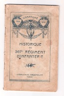 Historique 367e Régiment D'infanterie - 1914-18