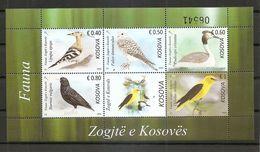 KOSOVO 2018,FAUNA,BIRDS,VOGEL,,FALCO,ORIOLUS,STURNUS,,UPUPA,,PODICEPS,BLOCK,,,MNH - Kosovo