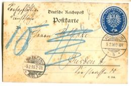 Siegelmarke Blau KAISERL. DEUTSCHES POSTAMT Auf Postkarte 1895 Stempel Kötzschenbroda Vignette - Storia Postale