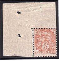 Type BLANC Variété 3c Piq. Lég. à Cheval ** - 1900-29 Blanc