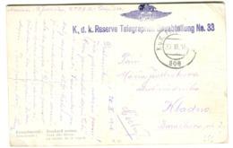 Stempel K.u.K. RESERVE TELEGRAPHEN BAUABTEILUNG No. 33 1916 Auf AK Nach KLADNO - 1850-1918 Imperium