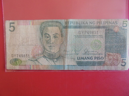 PHILIPPINES 5 PISO 1995  CIRCULER - Philippinen