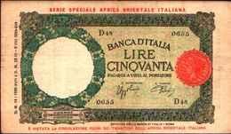 1795) 50 LIRE LUPETTA CAPITOLINA-DEC. 14-1-1939 -SPL PER L'AFRICA ORIENTALE ITALIANA - [ 6] Kolonies